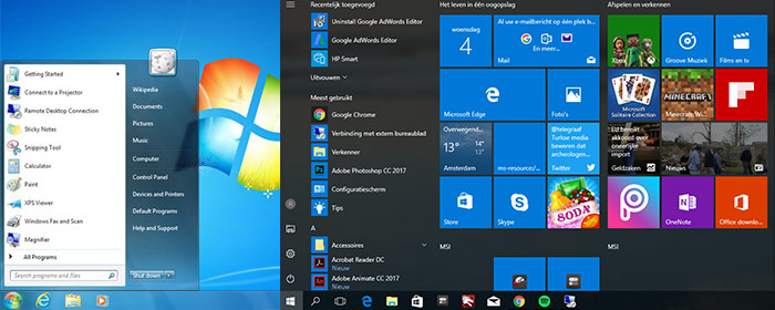 Verschillen in Startmenu indows 7 versus Windows 10